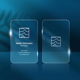 Визитная карточка с прозрачным эффектом размытия фона, макет Premium Psd