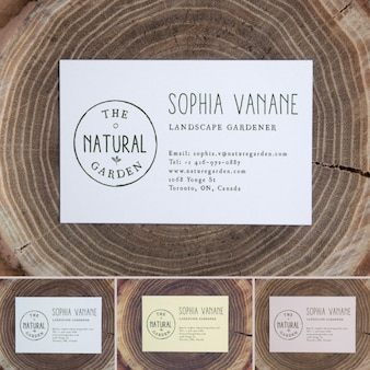 Business card above a trunk mock up