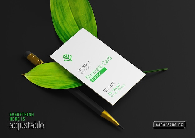 Business card on two leaves with pencil mockup branding stationery perspective view