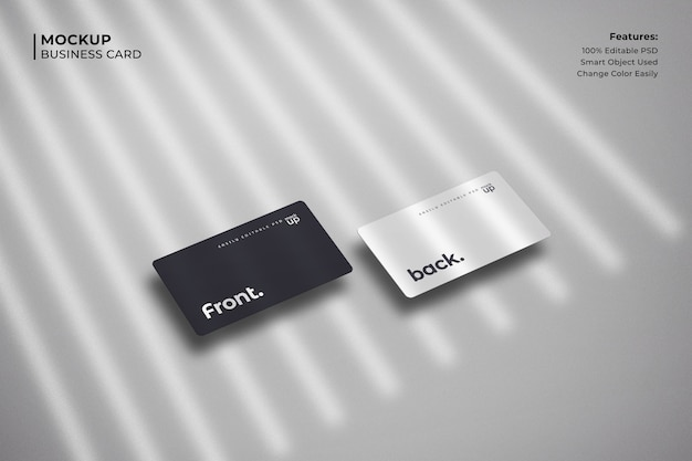Business card on white background mockup