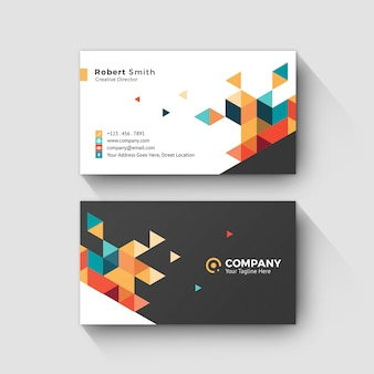Business card with abstract geometric background