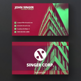 Business card with architectural elements
