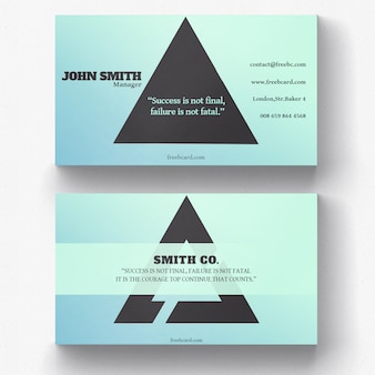 Business card with black triangle