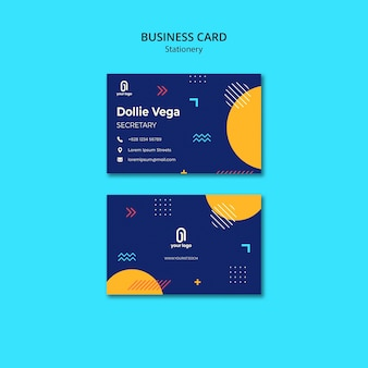 Business card with blue design and halves of circles