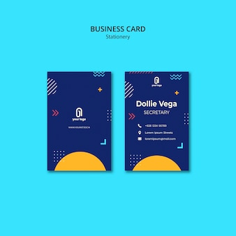 Business card with blue design and memphis