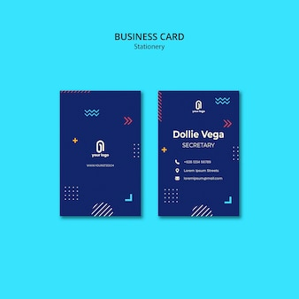 Business card with blue design and shapes