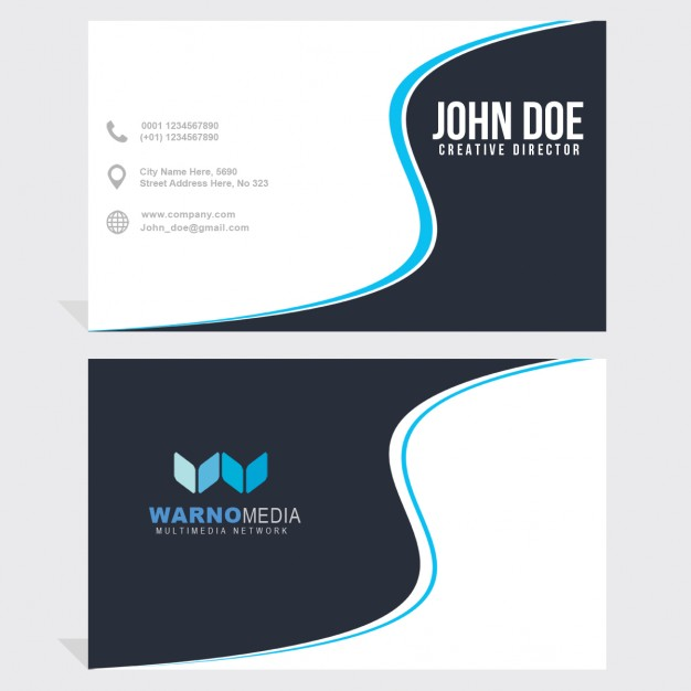 Business card with blue wavy lines