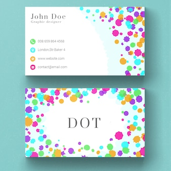Business card with colored dots