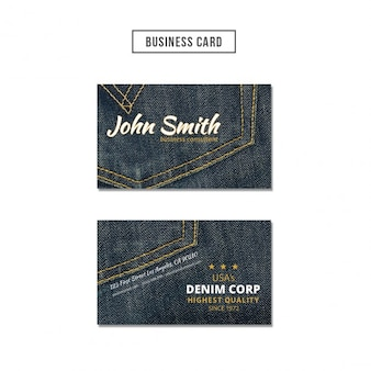 Business card with denim background