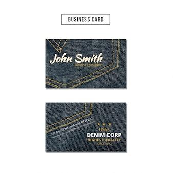 デニム背景のビジネスカード
