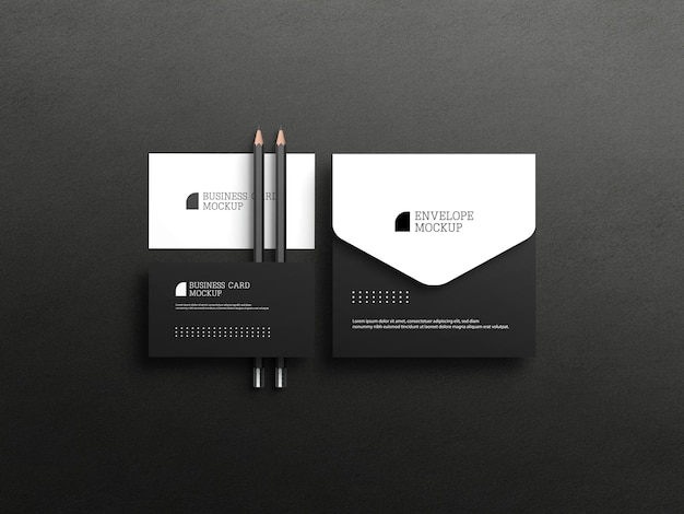 Business card with envelope mockup
