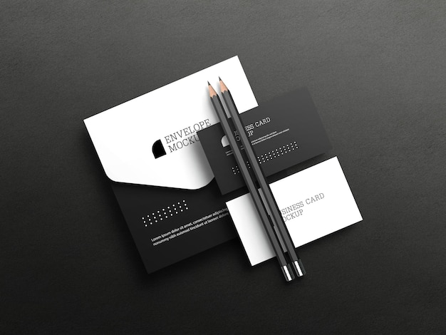 Визитная карточка с макетом конверта