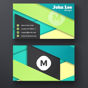 Business card with geometric ribbons