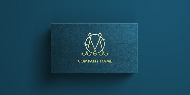 Business card with gold debossing text effect template mockup