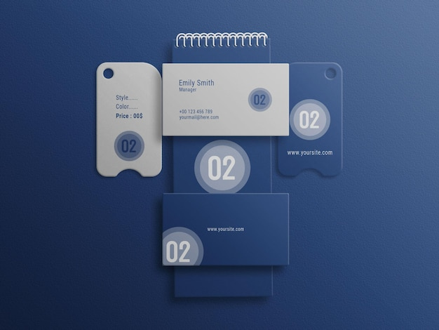Business card with haning tag and landscapes note boo