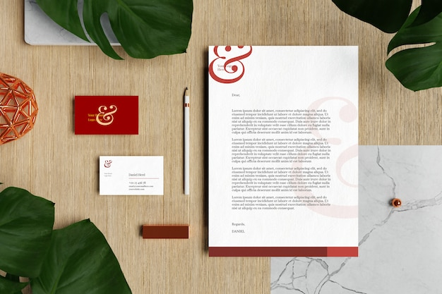 Business card with letterhead a4 document and stationery mockup