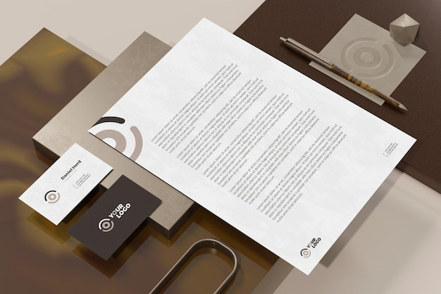 Business card with letterhead document branding stationery mockup