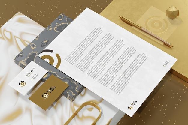Визитная карточка с фирменным бланком документа, брендинг, макет канцелярских принадлежностей