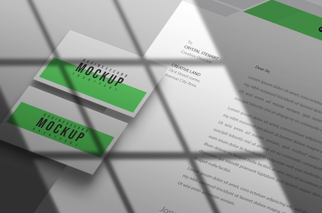 Business card with letterhead mockup design psd