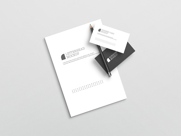 Business card with letterhead mockup