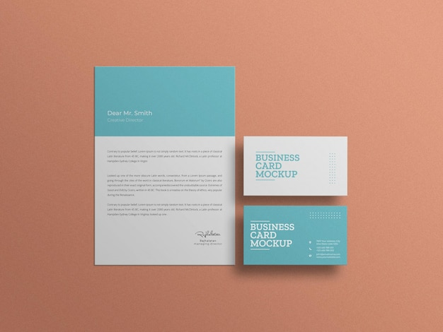 Business card with letterhead stationery set mockup