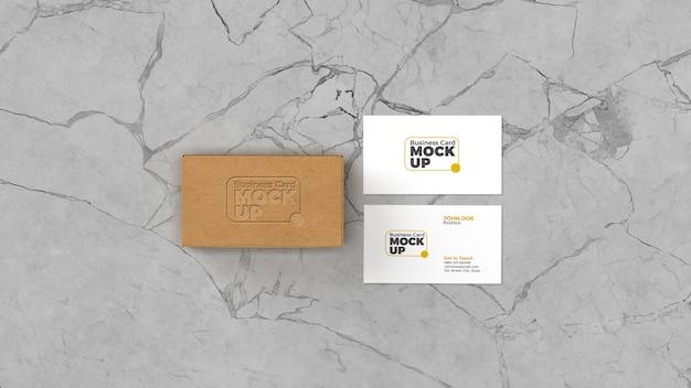 Визитная карточка с логотипом высокой печати на макете коробки Premium Psd