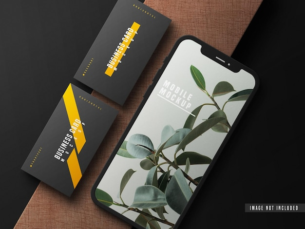 Business card with mobile phone mockup psd