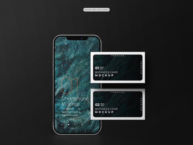 Business card with mobile phone mockup