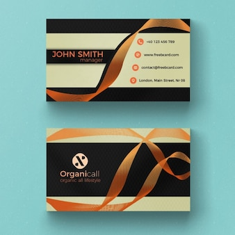 Business card with orange ribbon