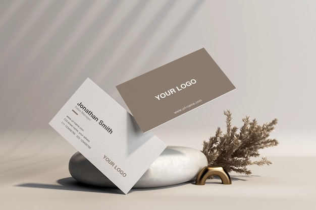 Business card with pampas grass mockup in 3d rendering