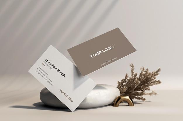 Визитная карточка с макетом пампасной травы в 3d-рендеринге