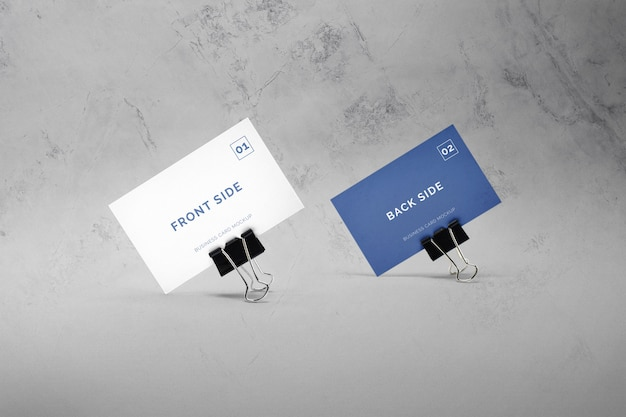 Business card with paper clips mockup