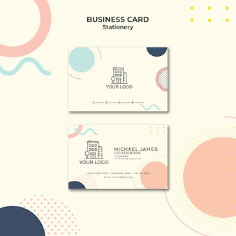 Business card with pastel-coloured memphis effect