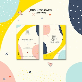 Business card with pastel-coloured shapes