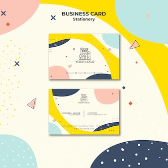 Business card with pastel-coloured template