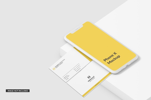 Business card with phone mockup