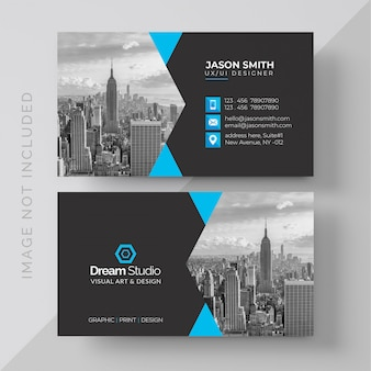 Business card with photo of city