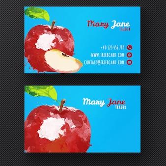 Шаблон визитной карточки акварели яблоко