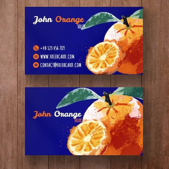 Business card with watercolor oranges
