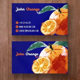 水彩オレンジ名刺テンプレート
