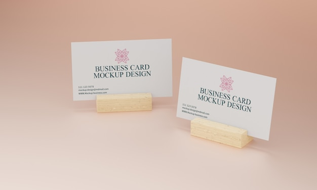 Business card on wooden stand mockup