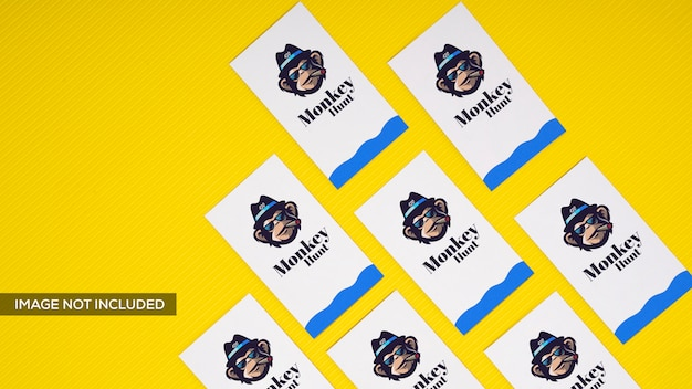 Business card in yellow mockup