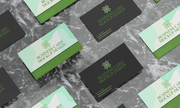 Business cards on black marble table mockup