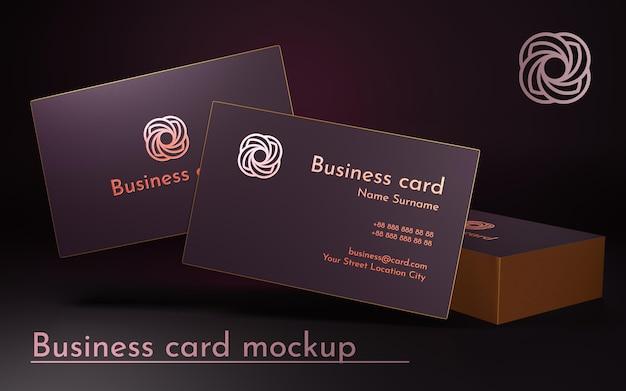 Визитные карточки в темно-розовом цвете с золотой рамкой 3d визуализации