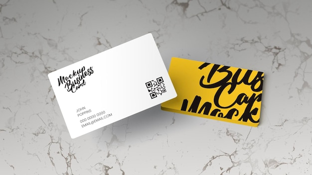 Business cards on marble surface mockup