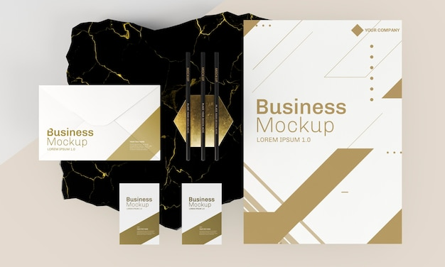 Business cards mock-up golden and white tones