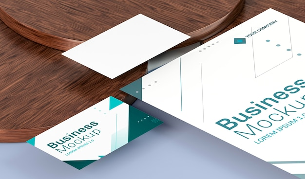 Business cards mock-up high view on wooden boards