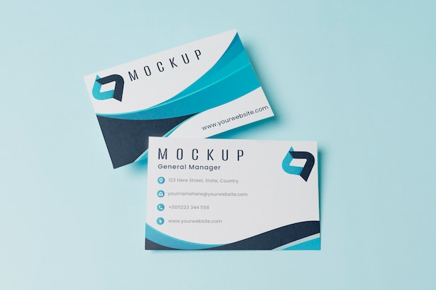 Business cards mock-up top view