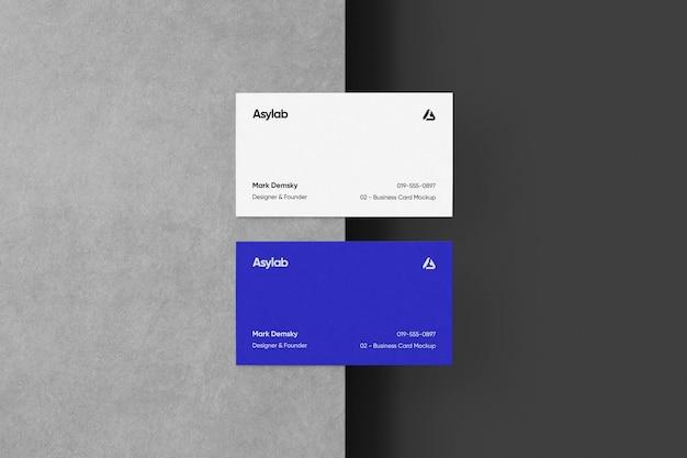 Business cards mockup half concrete