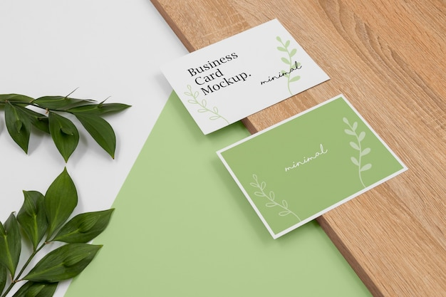 Business cards mockup high angle